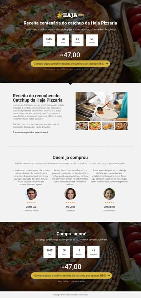 Apresentação do Catchup da Pizzaria Haja - Criador de landing pages